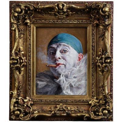 Portrait Huile Sur Panneau Par Armand Henrion