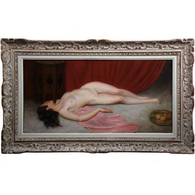 Painting Odalisque Oil On Canvas, Orientalist Nude Maurice Briard