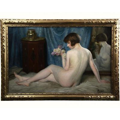Peinture Huile Sur Toile, Nu Décor Orientaliste Maurice Briard
