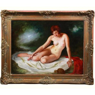Oil On Canvas, Nude Portrait Bathing Nude  By Maria Szantho