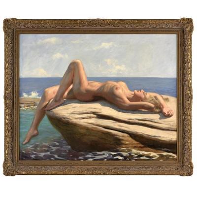 Oil On Canvas Reclining Nude By Marcel René Herrfeldt