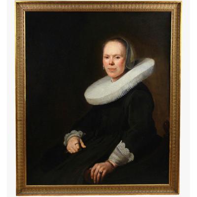 Baroque Portrait Of A Seated Woman Oil On Canvas Dutch School