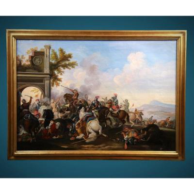 Old Oil Painting On Canvas 20th Century, Battle Scene
