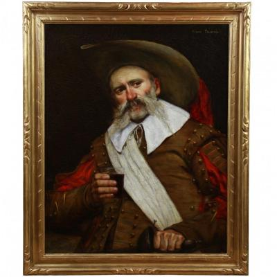 Painting Oil On Canvas, Portrait Of A  Musketeer 20th