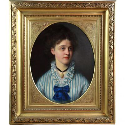 Oil On Canvas Portrait Of A Young Lady 19th