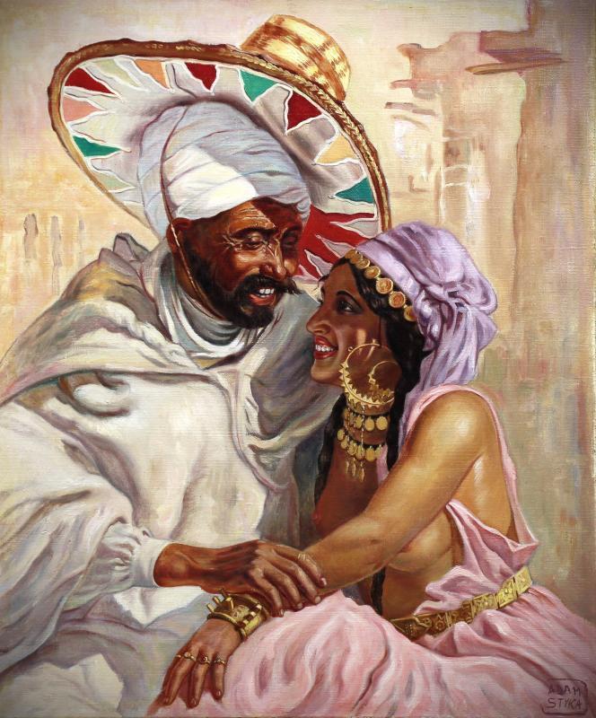 """Belle Huile Sur Toile , Portrait """" les amoureux """" nu orientaliste -photo-3"""