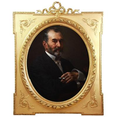 Beautiful Oil On Canvas, Portrait Of A Man Painted By A. Laborde Oval Frame