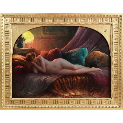 Nude Lying On A Couch, Art Nouveau Signed Allan Gilbert