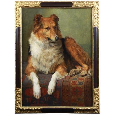 Portrait De Chien Par Charles Van Den Eycken école Belge 19ème