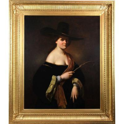 Huile Sur Toile , Portrait De Femme Au Chapeau XIXème