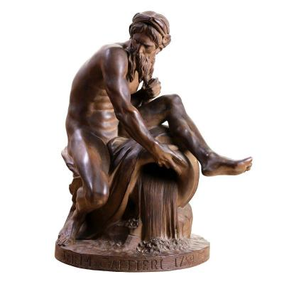 """Patinated Terracotta Jean Jacques Caffieri """"the River"""" XIXth Century"""
