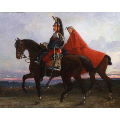 Oil On Canvas Cavaliers Imperial Napoleon I 19th Century