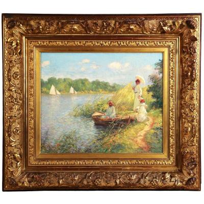 Beautiful Impressionist Oil On Canvas By Jacques Muller Frame
