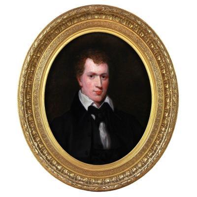 Portrait d'Homme , Huile Sur Toile 19ème Cadre Ovale