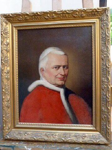 Rare 19thc Oil Portrait Painting Pope Pius IX (1848-1878)