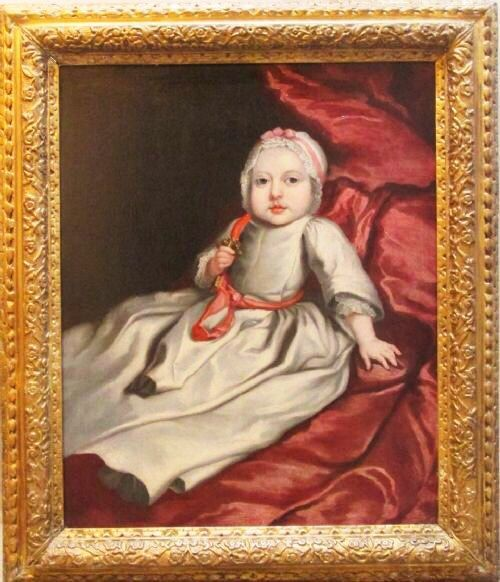 17thc Oil Portrait Painting Baby With Coral Teether C1690 Circle of Mary Beale (1633-1699)
