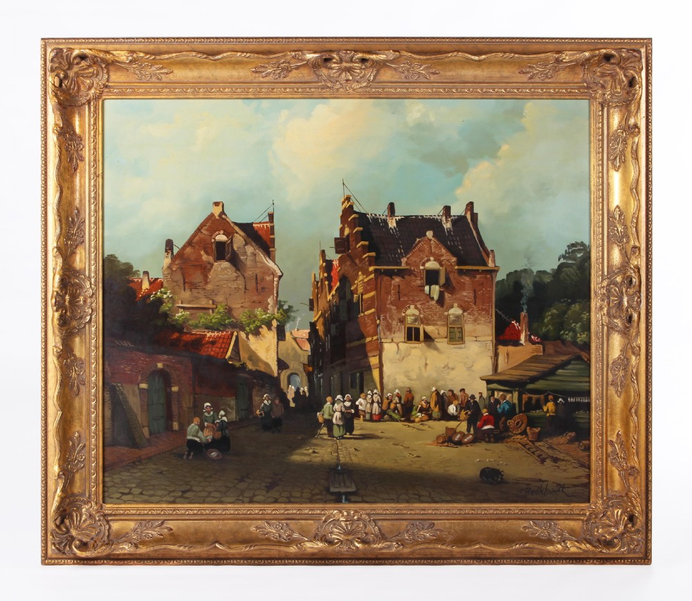 Dutch Market Scene on Panel By Jan Beekhout (19thc Manner)