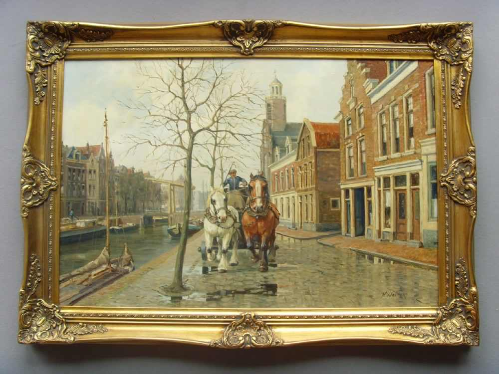 Dutch Amsterdam Street Scene Oil Painting By Henk Welters (1885-1947)