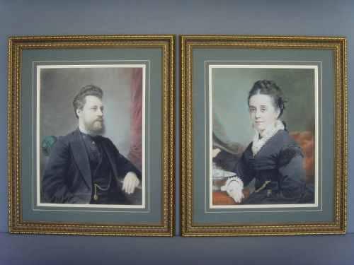 Pair Victorian Pastel Portrait Of Gentleman & Wife