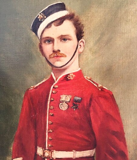 Oil Portrait Of British Red Coat Bandsman Muscician 2nd Dragoon Guards (1860-1895)