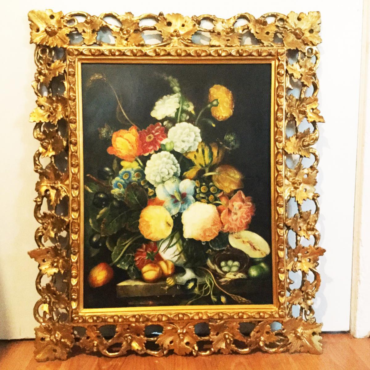 Estampes De Fleurs De Nature Morte Estampées Dans Des Huiles Et Un Cadre Florentin