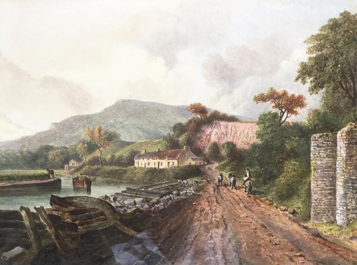 Peinture à l'Huile De Paysage Miniature Géorgienne De River Canal & Barge