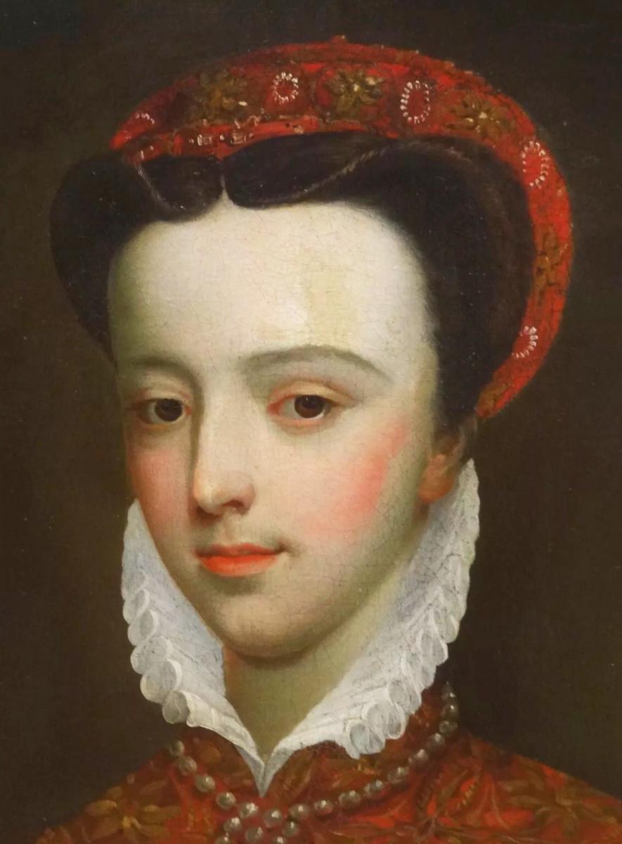 18thc Oil Portrait De Mary Queen Of Scots (1542-1587) Après Federico Zuccaro (1540-1609)