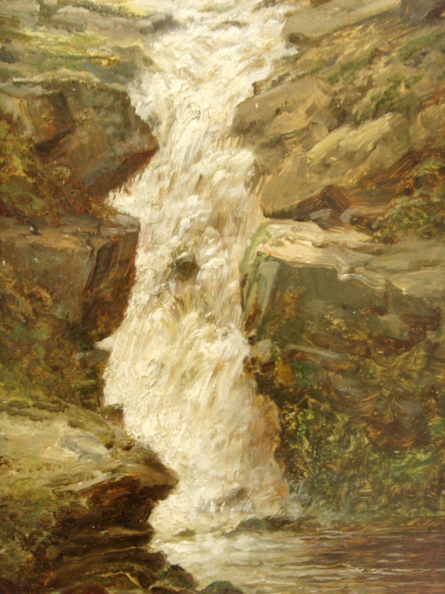 Paire de peintures à l'huile de paysage du XIXe siècle des chutes de montagne signées T.Seymour
