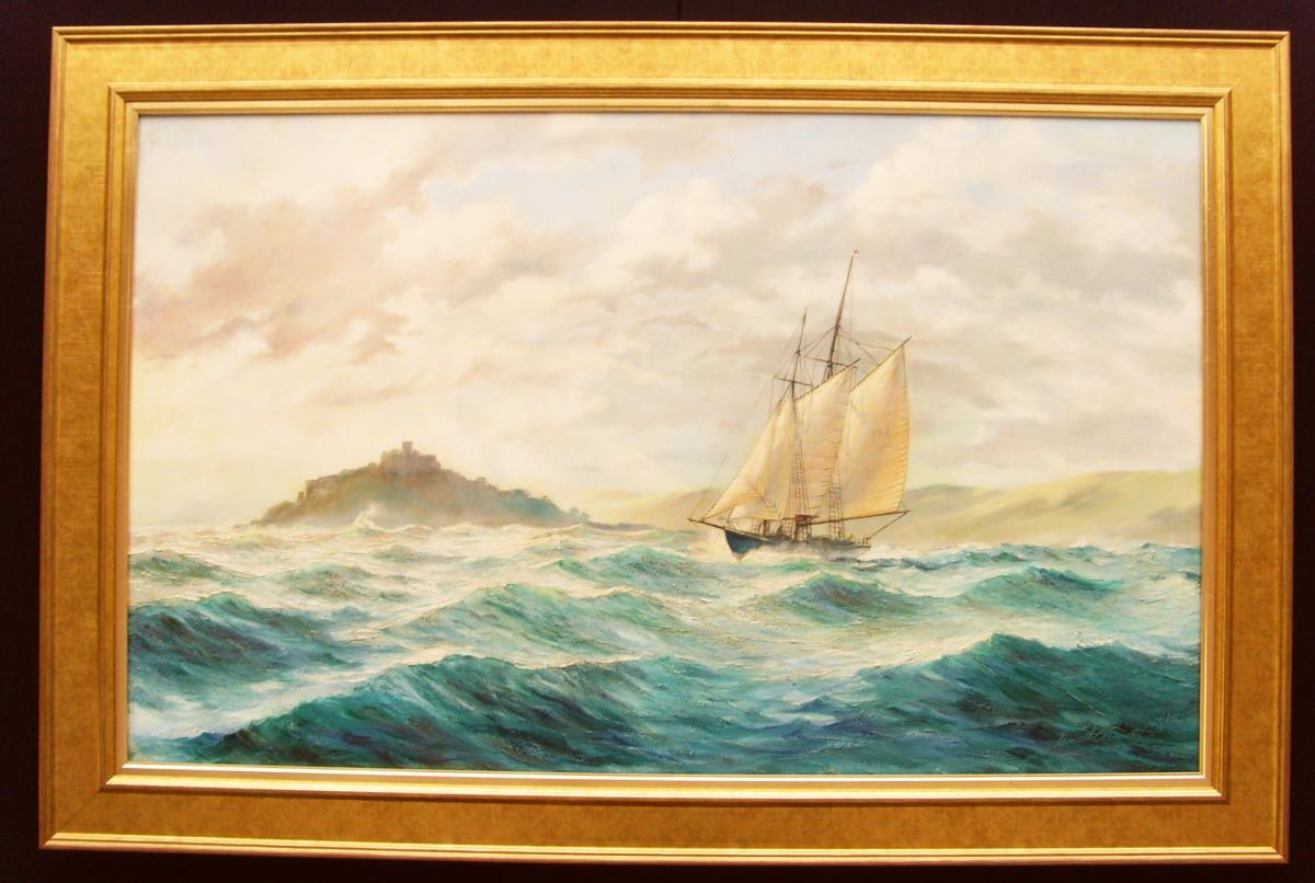 Peinture à l'Huile énorme De Seascape St.michaels Mount By Kenneth E.carter