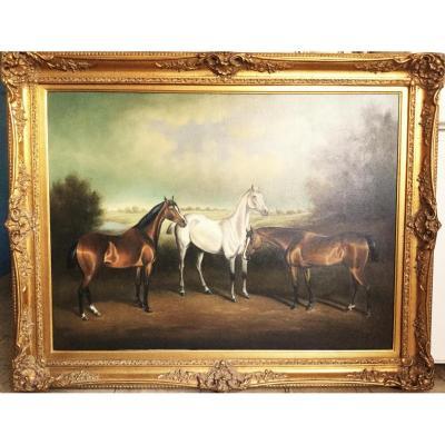 Peinture à l'Huile De Chevaux Sauvages Dans Un Paysage d'Après George Stubbs