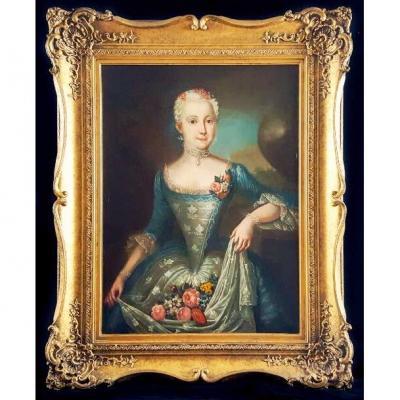 18ème Portrait à l'Huile d'Une Belle Jeune Femme De La Société