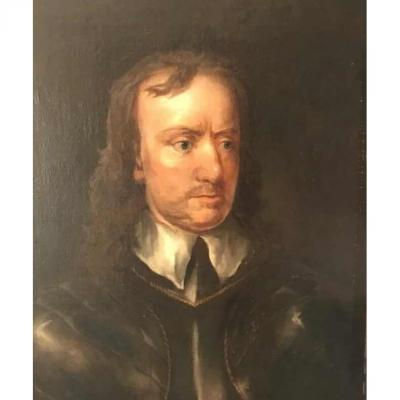 Fine Oil Portrait Of Oliver Cromwell After Sir Peter Lely
