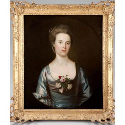18thc Oil Portrait Of A Lady