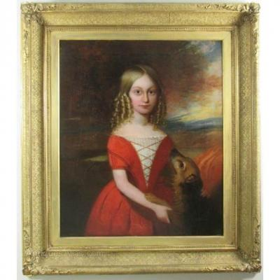 18thc Oil Portrait Painting Of Young Girl & Her Pet Dog