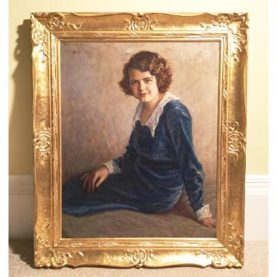 Oil Portrait Young Girl By Michel Katzaroff (1891-1953 ) French School Dated Paris C1930