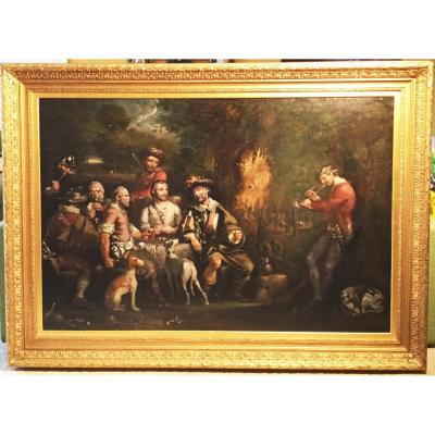 18thc Oil Painting Of Bandits Encampment By Robert Surtees Snr
