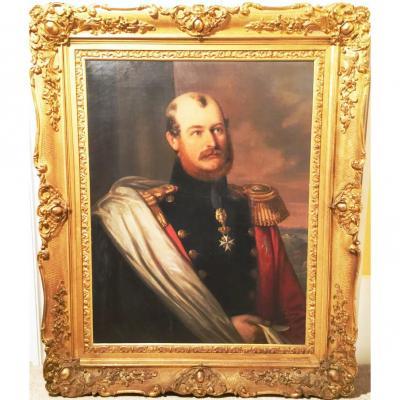 19thc Oil Portrait Of Prince Constantine Of Waldburg-zeil Trauchburg Germany