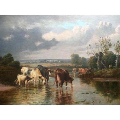 Fine Landscape Oil Painting Of Cattle Watering In A Shallow River