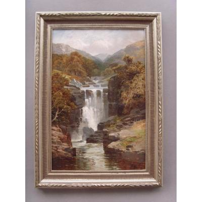 19thc Landscape Oil Painting Of Waterfall By David Motley