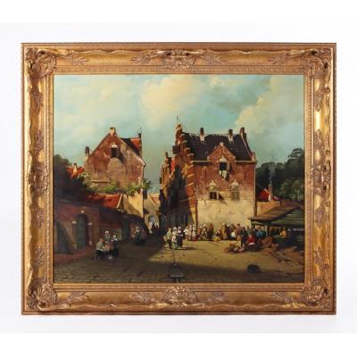 Dutch Market Scene on Panel By Jan Beekhout (19thc Manner)