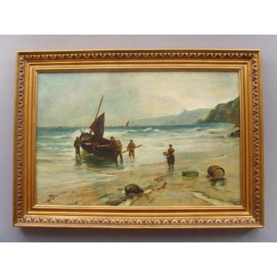 Newlyn School Seascape Fishermen Landing The Catch Cornish Coast By Thomas Seymour
