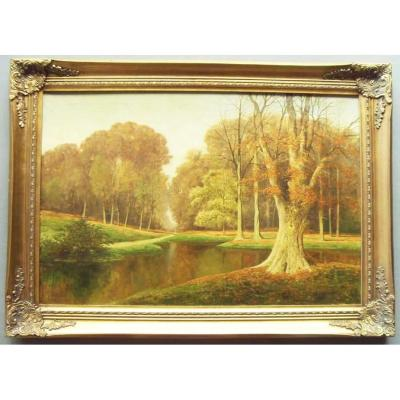 Autumnal Meadow Landscape Oil Painting By Listed Artist David Mead (1906-1986)