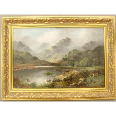 Landscape Oil Painting Of Loch Awe Scotland By Paul Fenton C1903