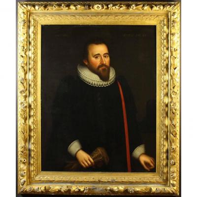 C1621 Oil Portrait Richard Graves (1572-1626) Wearing Ruff Collar  Follower Of Gilbert Jackson