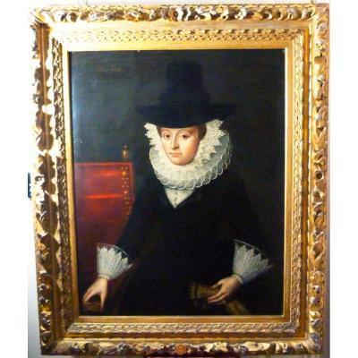 C1621 Oil Portrait Of Frances Graves (nee Gourney) Follower Of Gilbert Jackson (1595-1648)