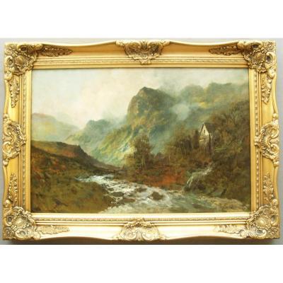 Peinture à l'huile de paysage écossais de la brousse d'Écosse par F.E.Jamieson