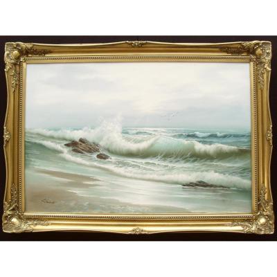 Grande peinture à l'huile Seascape Ocean Waves Breaking Shore Signé Schubert