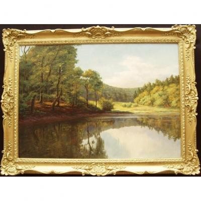Peinture à l'huile de paysage de grande rivière Style de Everett Watson Mellor (1878-1965)