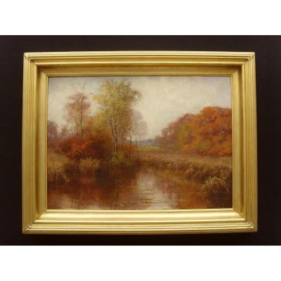 Peinture à l'Huile Moseley Pool Autumn Landscape Par Mary Groves