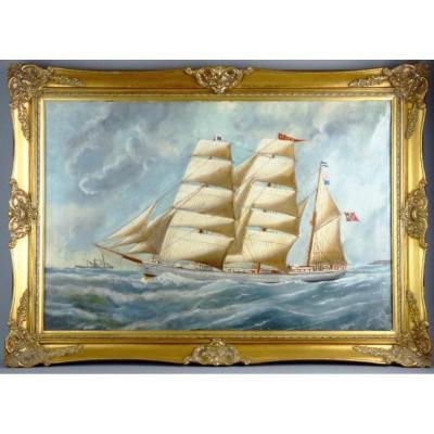 Navire Norvégien De Barque En Bois Construit Par B.Balchen & Co 1892